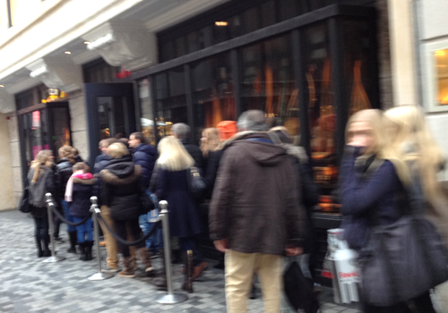 This ridic line outside of A&F. Yes, people here love it.