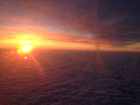 The sunrise from my window seat