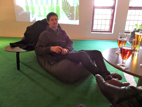 Jeff relaxing on one of the bean bag chairs in the bar