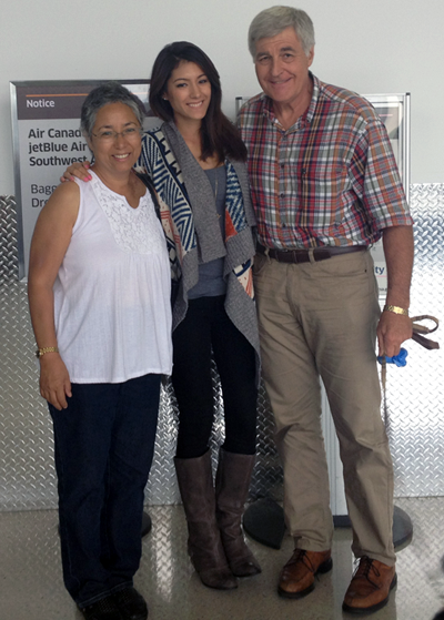My parents and I in the airport before I boarded my flight to Denmark
