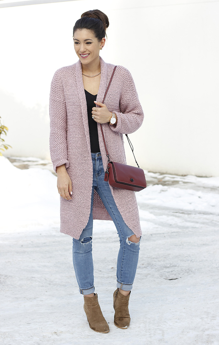 pink cardigan outfit