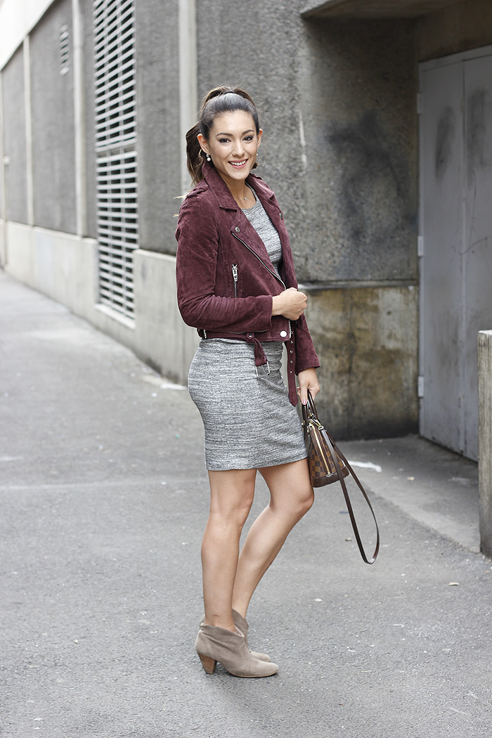 Burgundy Suede Jacket and a fitted dress via SeekingSunshine.com